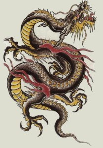Dragon lines spiral reminiscent of the movement of the Chinese beast...